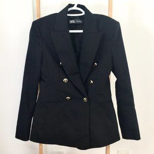 Zara Black Double Breasted Blazer